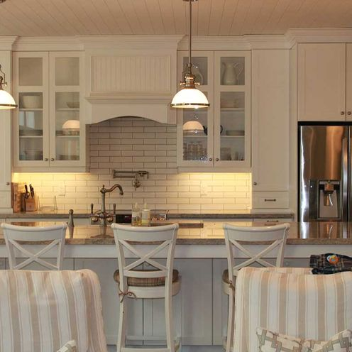 white kitchen and chairs