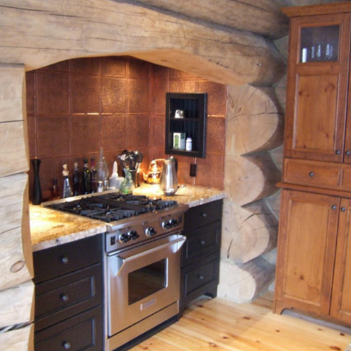 Kitchen unit with wood logs arch